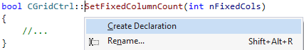 quickly create a declaration from any implementation