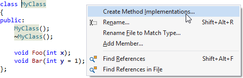 create implementations of all methods in a class