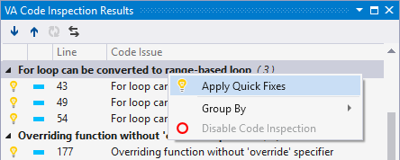 Code issues in a tool window