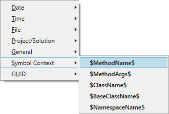 Expand file and symbol names taken from the context in which a VA Snippet is invoked