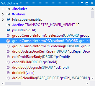 Inspect the classes, methods, and file-scope declarations in the active document with the VA Outline
